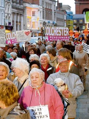 Defiant: Pensioners march along Colchester High Street in 2004 to protest at decision to close Abbots Activity Centre.