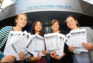 Danni Murgia, Holly Wells and Jess Rashid collect signatures at Colchester Sixth Form College in support of Cassie's Law. They are pictured with Cassie's mother Jackie McCord.
