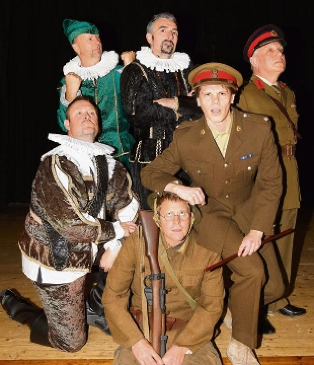 On stage: Some of the cast of Blackadder at Maldon Town Hall.