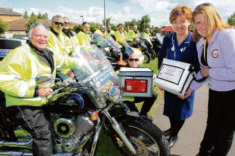 Riders with blood transfusion nurse practitioner Sue Turner and co-ordinator Carol Peacock