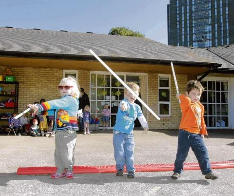 Youngsters at Essex University Day Nursery doing the javelin: (from left) Lilly Addington, Jed Kneeshaw and Alexander Gott, all aged three.