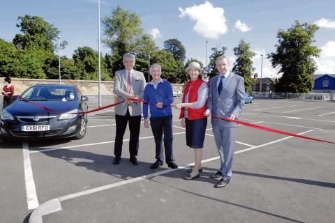 Official opening of Napier Road car park in Colchester: (from left) Cllr Martin Hunt, ward councillors Peter and Theresa Higgins, and Danny Clark from Taylor Wimpey.