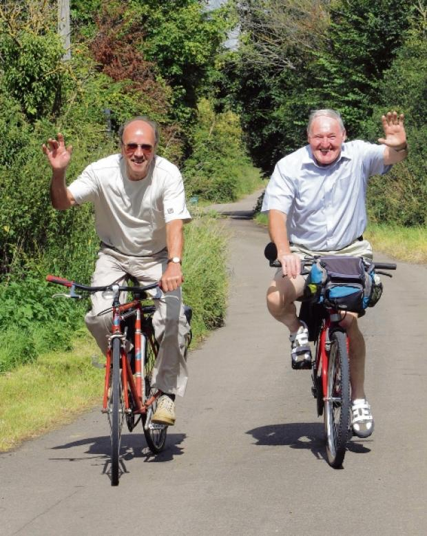 Peter Mann and Reg Green, of East Mersea, who are cycling 50 miles for church charity