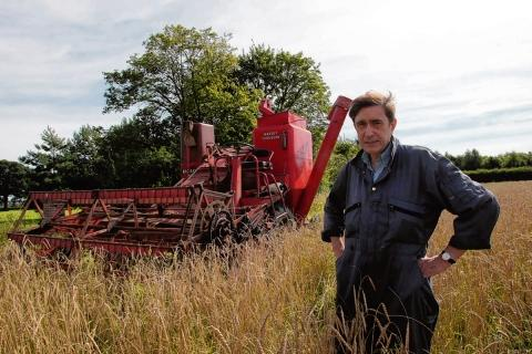 Steven Binks and his vintage combine harvester