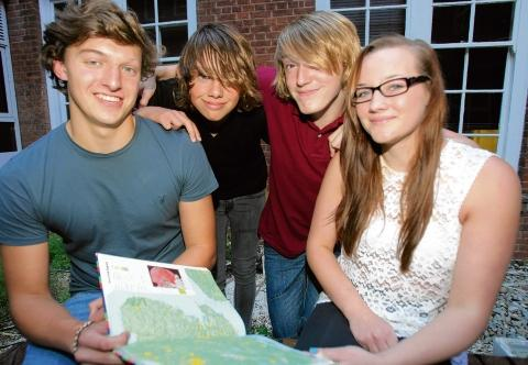 Colchester Sixth Form College students Alanah Keeble, 17, Ed Clark, 18, James Rulton, 16, and Kai Adams who swam the English Channel.