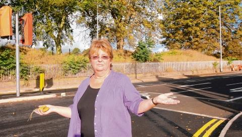 Which way? Councillor Lyn Barton at the new junction