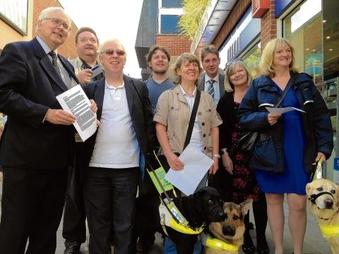 Walkabout – Sir Bob Russell with blind residents taking a walk in Colchester