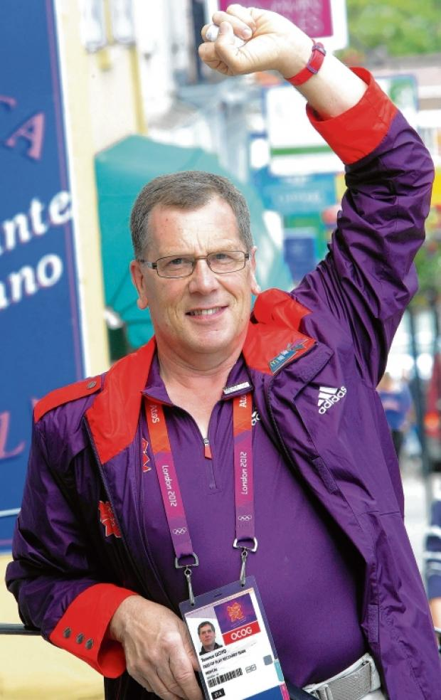 Terry Lloyd encouraged Games Makers to join the end of the athletes' parade through London