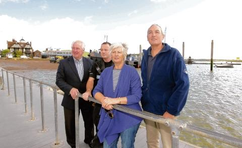 (from left) Cllr Alan Goggin, commodore of Colne Yacht Club Jane Long, Simon Lofting of the Marine Police and Robin Cole Harbour Master.
