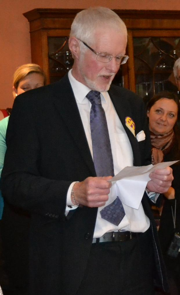 David Welham, pictured giving a speech at his retirement bash.