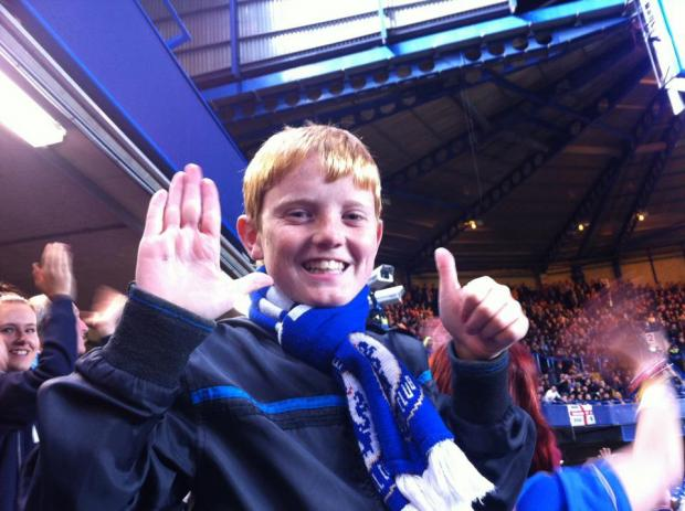 Kieran Seager cheers on Chelsea during the third round of the Capital One Cup.