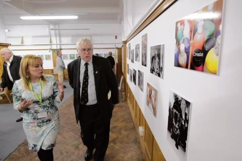 St Helena Hospice art exhibition at Slack Space, Colchester. Sir Bob Russell looks at exhibits shown by the Hospice's Holly Smart.
