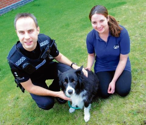 Insp Gary Chapman with vet Rosanna Mulholland from Colne Valley Vets.