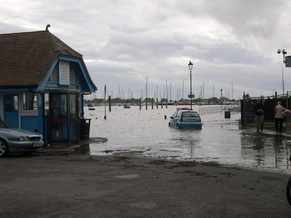 Picture courtesy of Richard Laker. A car gets caught out by the rising tide in Brightlingsea