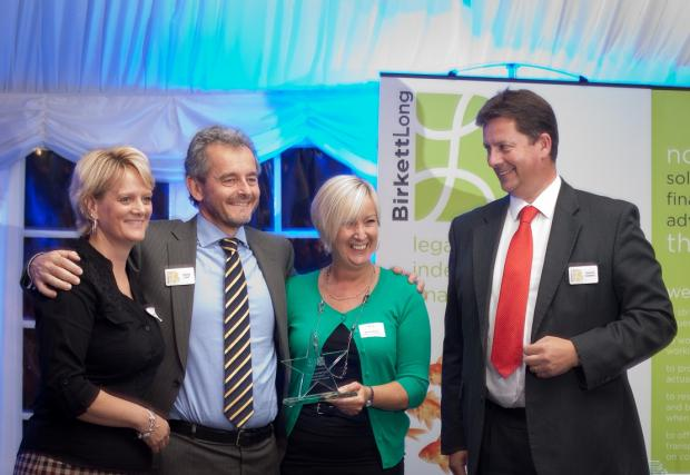 Debbie Coulson (Horizon Construction), David Cant (Birkett Long), Denise Baiss (Horizon Construction), Philip Hodeell (Birkett Long). Horizon Construction win award for raising most money in St Helena Hospice £50 challenge