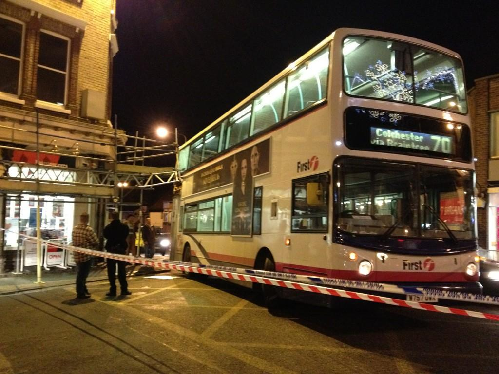 Bus crashes into scaffolding