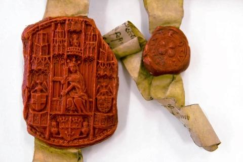 The two seals attached to the deeds created in 1462. Picture courtesy of Essex Records Office.