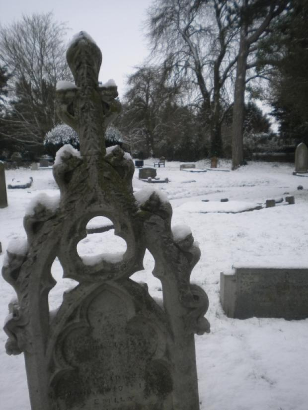 A snow filled graveyard in Halstead