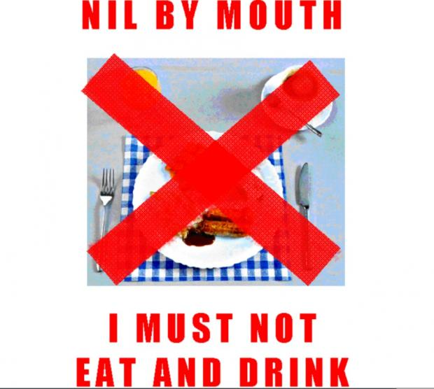 The new 'nil by mouth' poster used at Colchester General Hospital