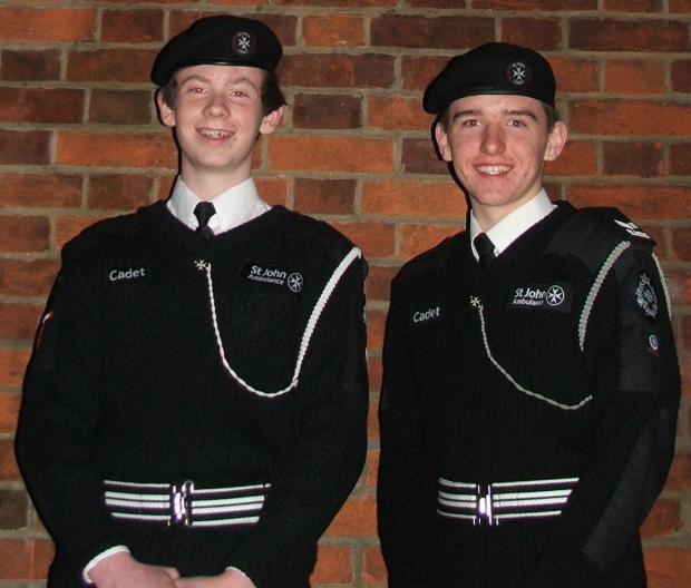 St John Ambulance cadets Rain Welham-Cobb, left, and Matthew Harrington-Keeton.