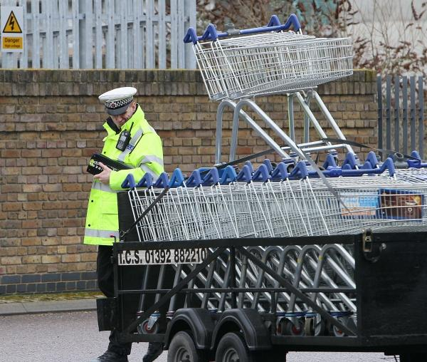 Trolleys collected in nearby B&Q car park