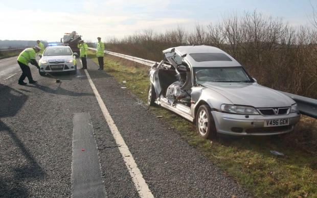 Road closed following crash on A133