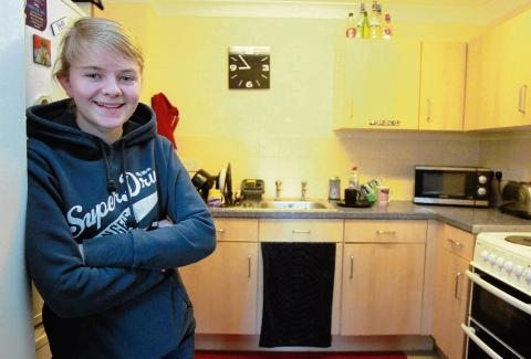 Naomi Taylor at her supported accommodation.