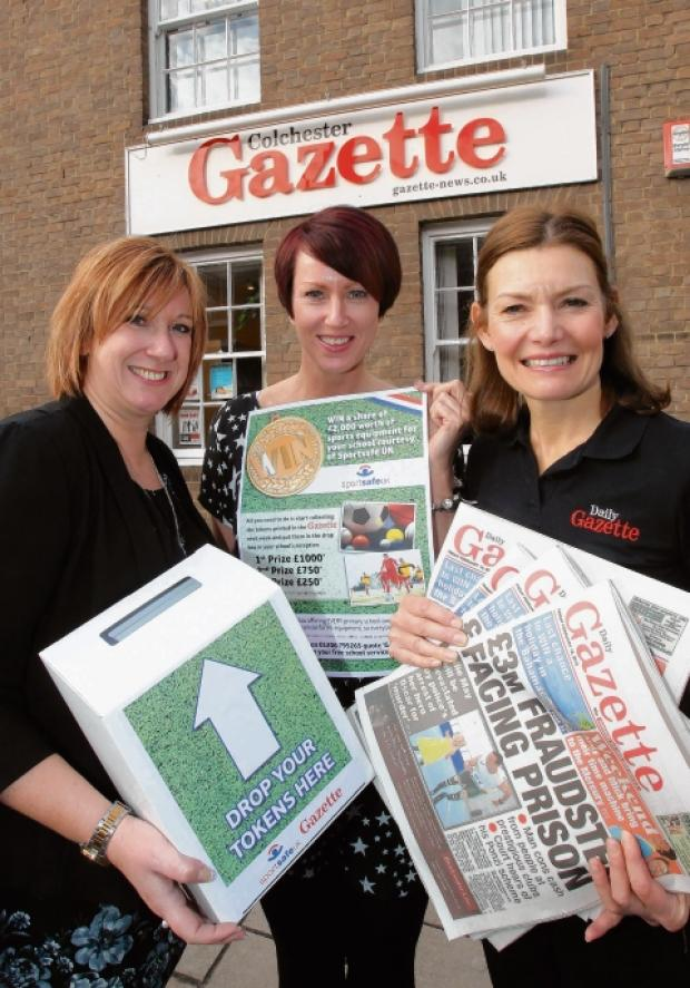 Gazette sales team Karen Mole, Tanya Rees and Alison Griffiths are urging schools to collect tokens and win sports equipment.