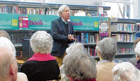 Dr Ronald Blythe speaks to an audience at Halstead Library during an Essex Book Festival