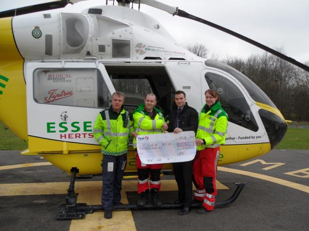 From left: Matt Tacon (air ambulance pilot), Ed Valentine (doctor), Andrew Wheeler (First Group) and Erica Ley (paramedic).