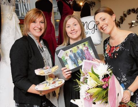 Bride-to-be Jenny Cooper, centre, with Gazette promotions manager Karen Mole (left) and Abi Neill, co-owner of Abigail's Collection (right).