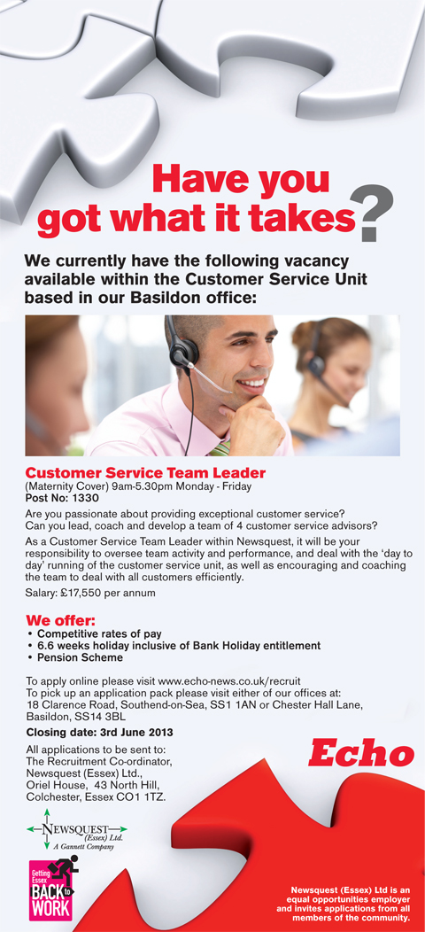 Customer Service Team Leader Post No. 1330