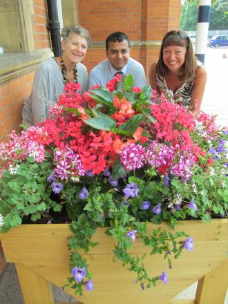 Pam Schomberg, Chair of Colchester in Bloom, Sham Rashid Greater Anglia area customer service manager and Sherry Hodgson, also of Colchester in Bloom.