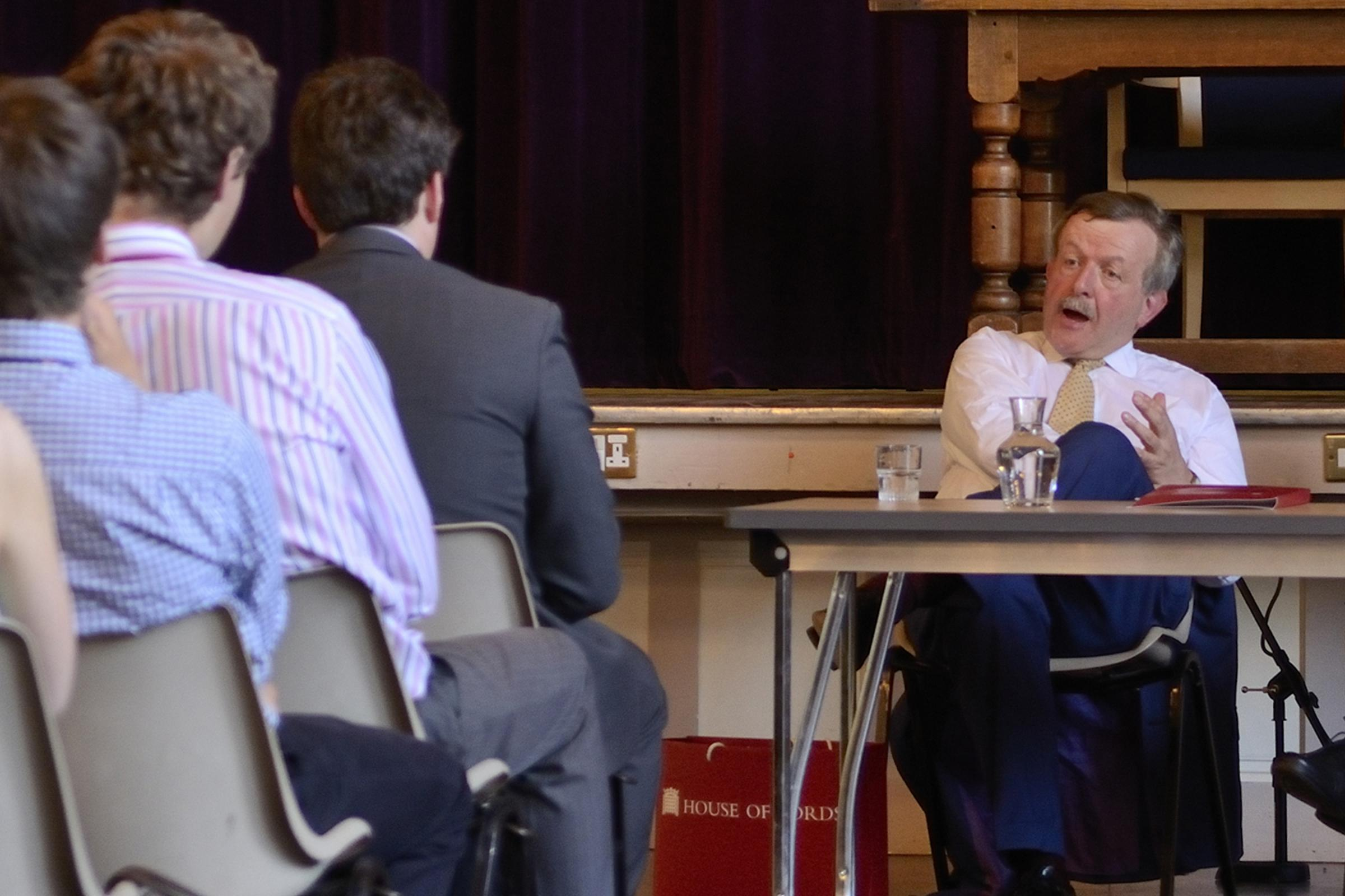 Lord Lexden talks to students at Colchester Royal Grammar School