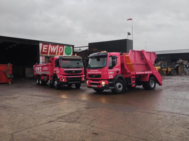 Essex County Standard: The pink lorries at Eastern Waste Disposal.