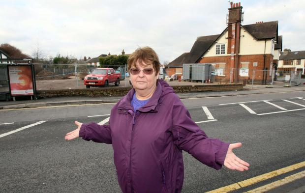 Cllr Lyn Barton where the proposed vet's centre would go.