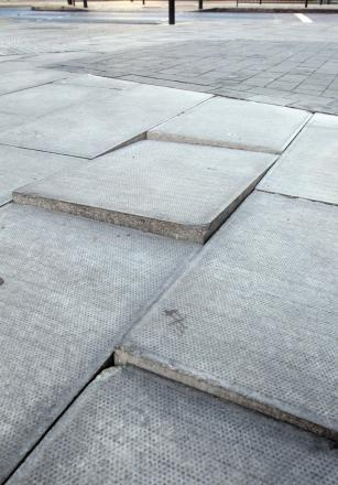 Some of the broken paving slabs at Colchester Bus Station.