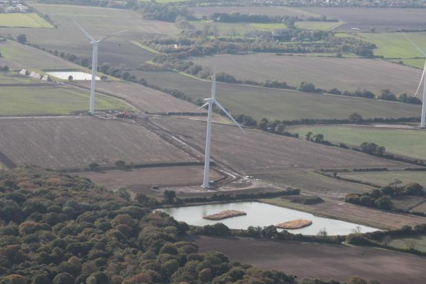 Earls Hall wind turbines from the air