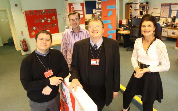 Essex County Standard: Learning centre volunteers Stavros Clarke and Mark Wright with Dee Bond and David Kerridge