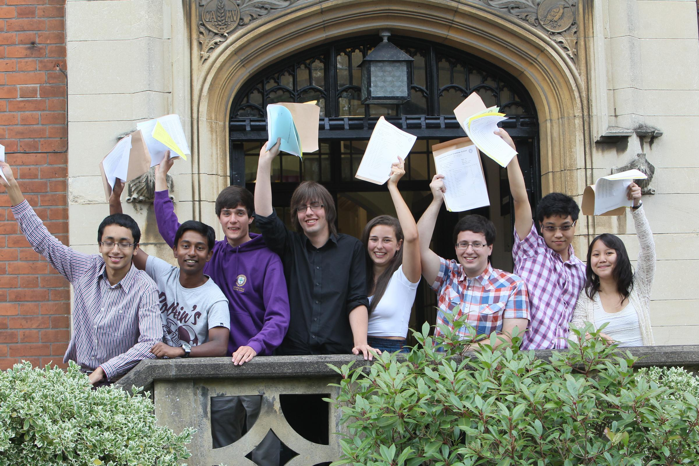 Students celebrating their A-Level results in summer
