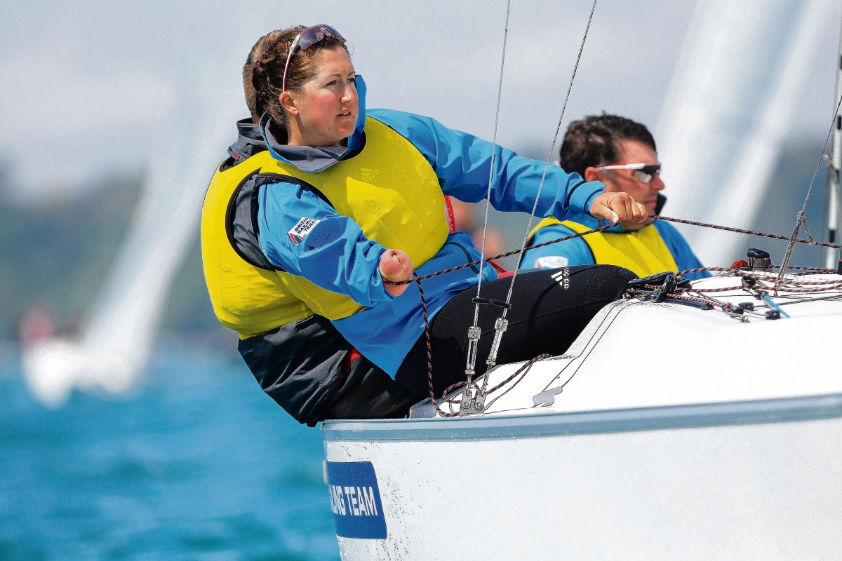 Silver success - Hannah Stodel, along with John Robertson and Stephen Thomas claimed second place in Miami. Picture: Richard Langdon/British Sailing Team