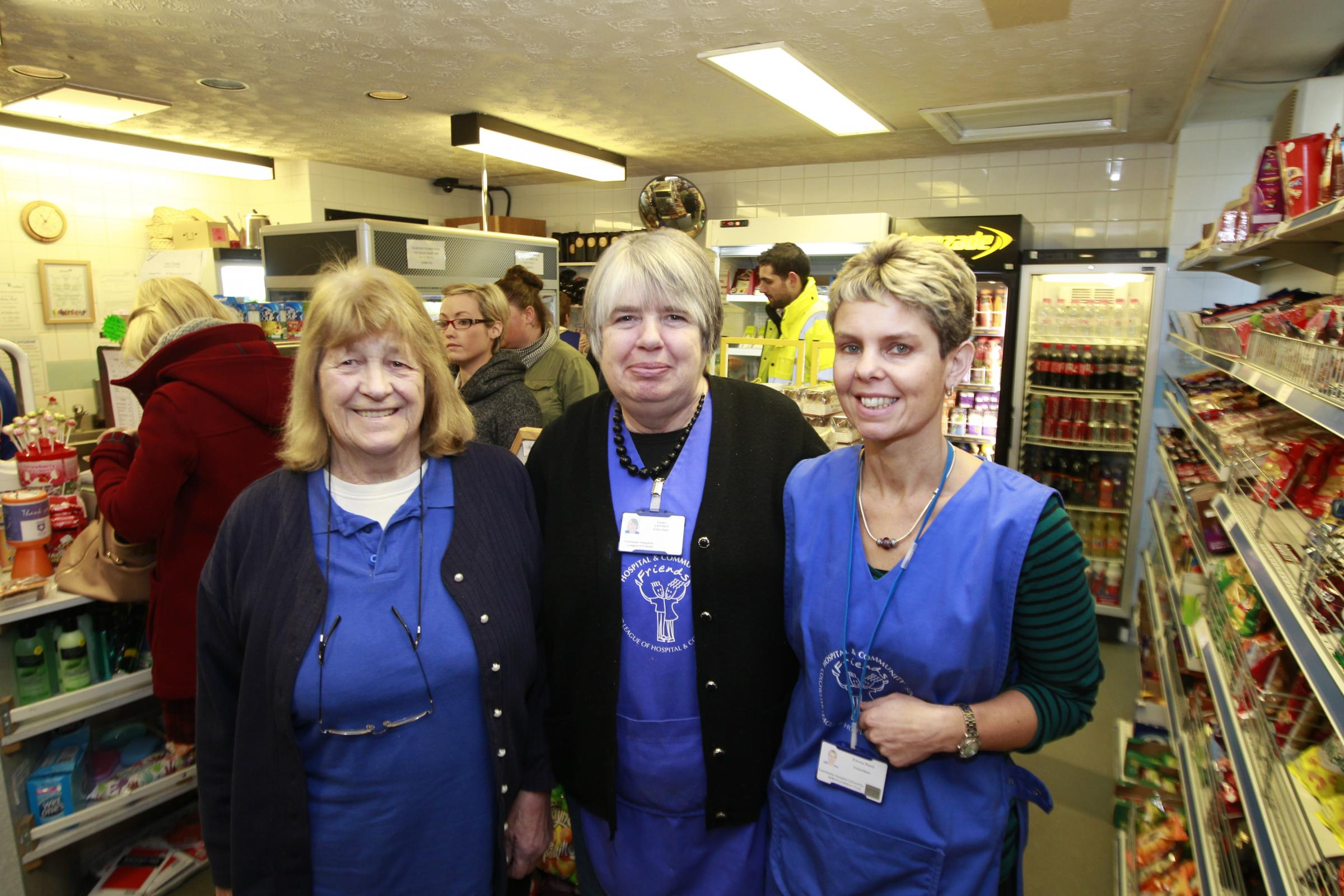 Volunteers Jean Smith, Helen Lambert and Elaine Reed in the coffee shop at Colchester General