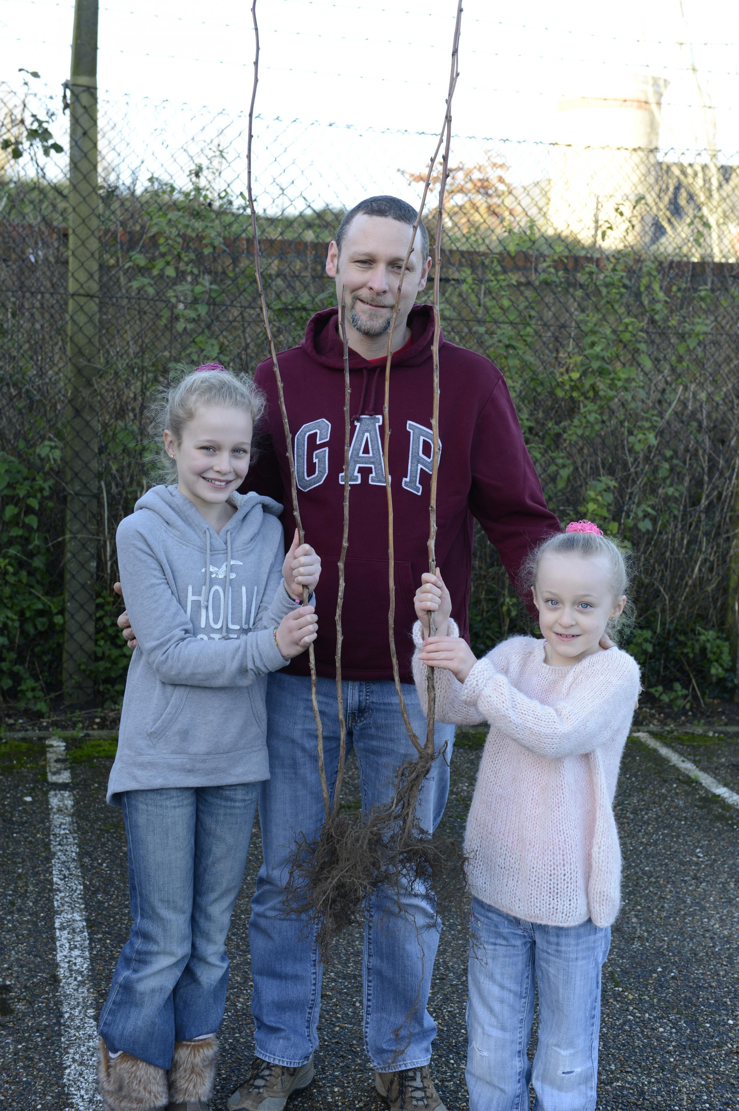 Trevor Caplin with children Sophie, 10, and Charlotte, 6