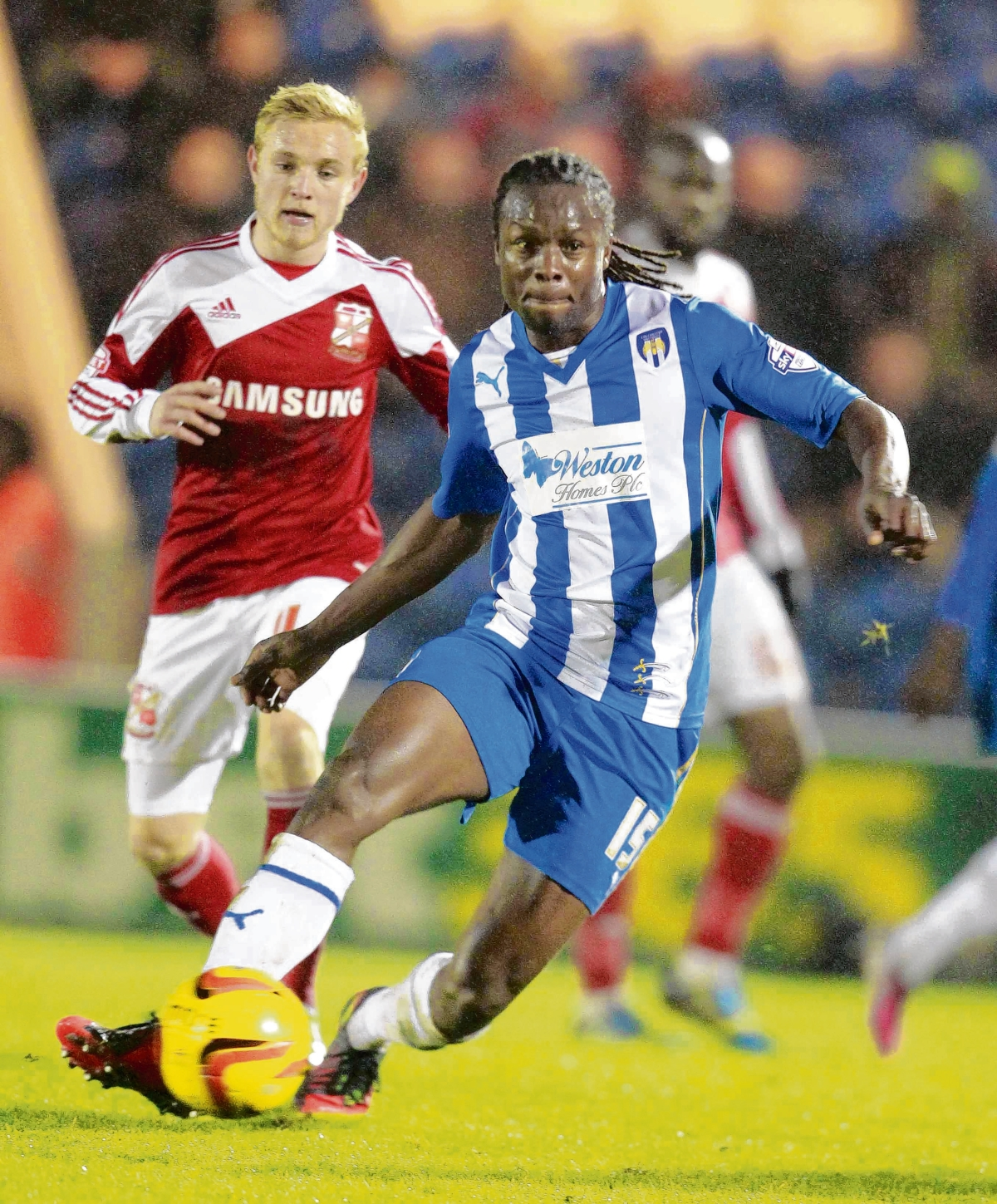 We meet again - Colchester United's Marcus Bean looks for an opening during his side's 2-1 home defeat against Swindon Town, last November. Picture: STEVE BRADING (CO86651-48)