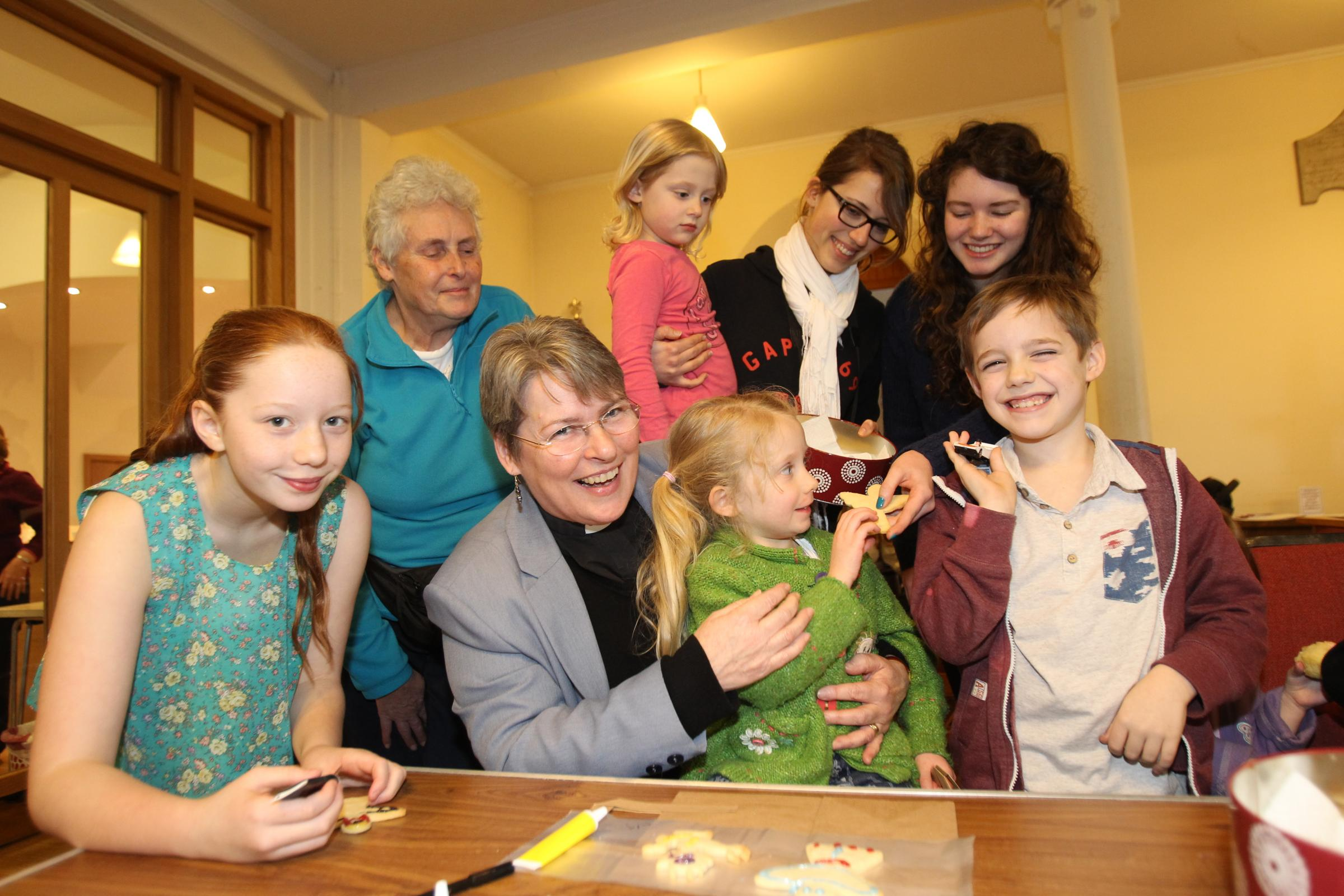 Youngsters join Rev Teresa Wynne at the Holy Commotion event.