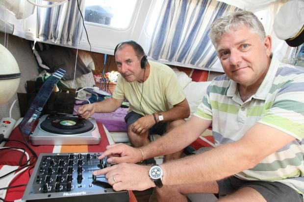 Neil Watson and Radio Wivenhoe director Jerry Davis during an outside broadcast.