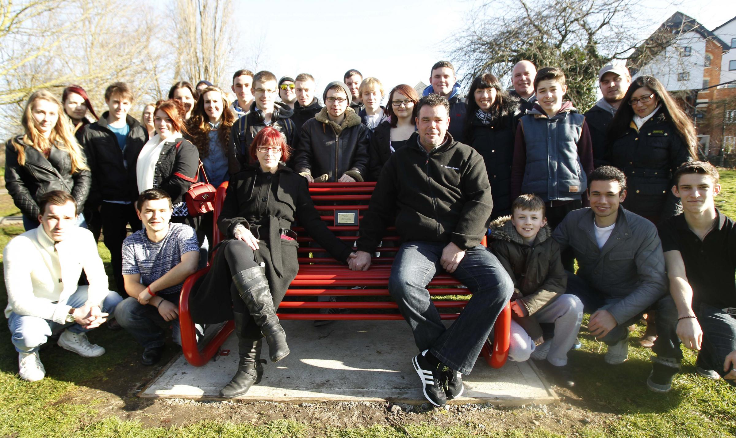 Family and friends of tragic Josh gather to unveil park bench tribute