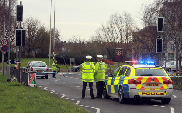 The crash scene and the broken lights at the Avenue of Remembrance, Colchester.