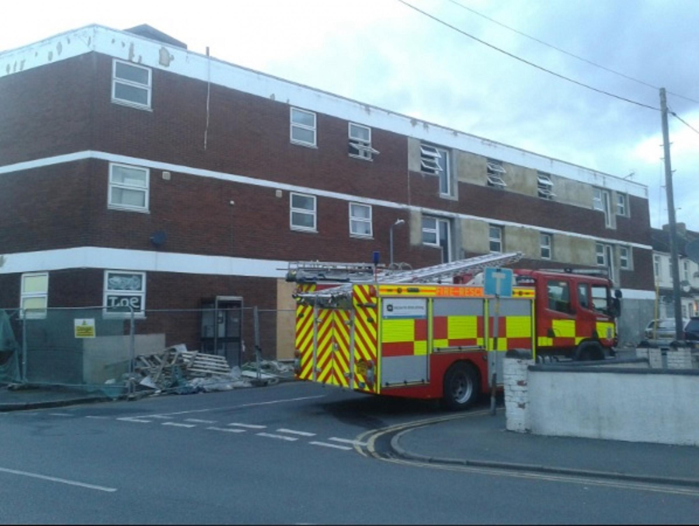 Fire fighters tackle derelict building blaze
