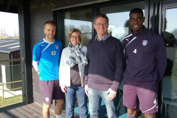Richard and Nikki Bowdidge with U's players Karl Duguid and Magnus Okuonghae
